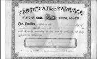 1902 Boone county Iowa Marriage Certificate for T. R. Davis and Mary A. Dixson