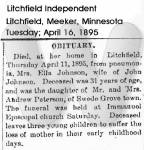 1895 April 16, Litchfield Independent, Obituary for Mrs. Ella Johnson