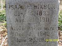 Isaac and Alice (Shaw) Dixson memorial stone