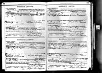 1907 Randolph County, Missouri marriage license registry, pages 452-453