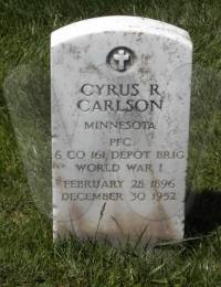Headstone of Cyrus Roy Carlson in Golden Gate National Cemetery