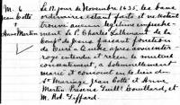 Hand-written copy of church record of marriage of Jean Cotté and Anne Martin